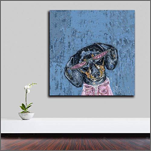 Geiqianjiumai Modedruck Moderne abstrakte Tier rosa Hund Kunst Ölgemälde Poster Leinwand Wandbild Wohnzimmer 70X70CM