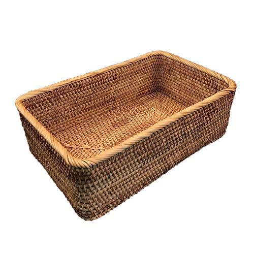 Fablcrew - Cesta de mimbre rectangular para frutas, verduras, pan o galletas, M, 25*16.5*9CM