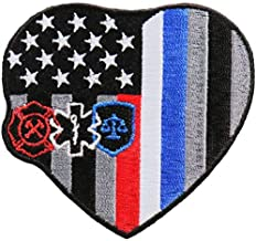 First Responder Heart Flag - Licensed Original Artwork, Iron On Patch, 3