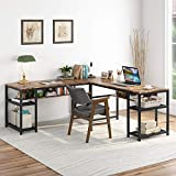 Tribesigns 70 Inch Modern L-Shaped Desk with Bookcase, L Shapes Computer Desk Study Table Super Sturdy Workstation for Home Office with Hutch (Rustic Brown)