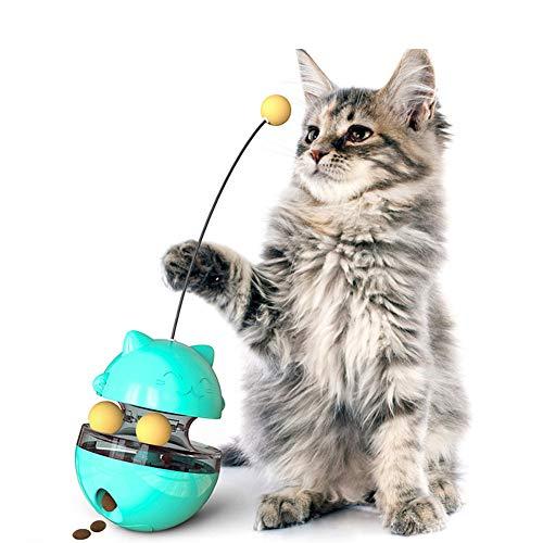 DUOIAO Pet Interactive Tumbler Puzzle Spielzeug Slow Feeder Food Dispenser Ball Feeder Spielzeug Blau Lustiges Katzenspielzeug