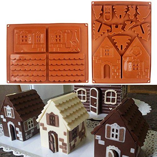 Fishyu - Set Di 2 Stampi In Silicone 3D A Forma Di Casetta Di Pan Di Zenzero, Per Torte E Biscotti