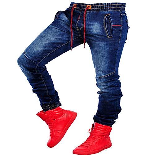 Herren Scratched Stretchy Ripped Skinny Biker Jeans Slim Fit Jeanshose Herren Elastic Waist Haremshose Herren Jogger L Darkblue