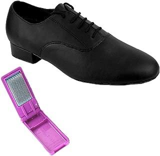 "Very Fine Ballroom Latin Tango Salsa Dance Shoes for Men - 919101-1"" Heel + Foldable Shoe Brush Bundle"