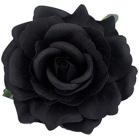Black pin up rose hair clip