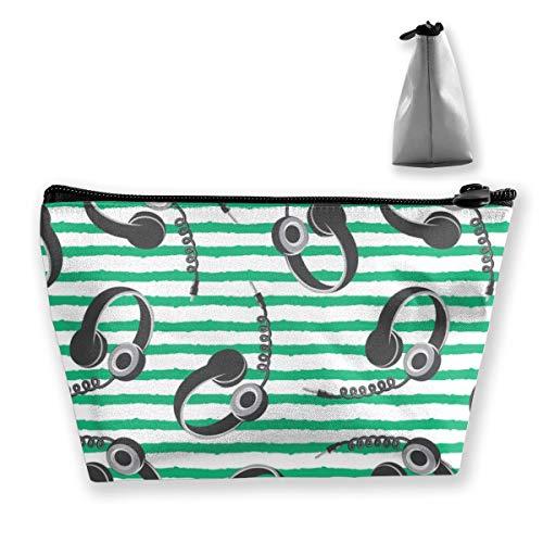 Multi-Functional Print Trapezoidal Storage Bag for Female Headphones on Dark Green Stripes