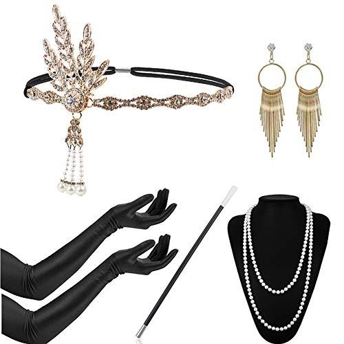 Timelike 20er Jahre Zubehör Set Flapper Kostüm Charleston Accessoires für Damen 1920s Gatsby Jahre Stirnband Kopfschmuck Ohrringe Perlen Halskette Handschuhe Zigarettenspitze