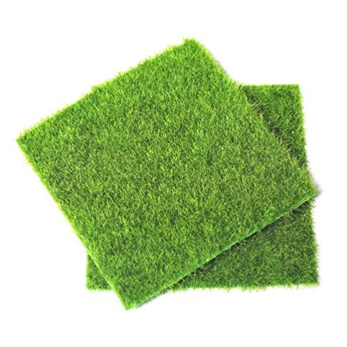 PRETYZOOM 6 Piezas de Césped Artificial Césped Falso 15X15 Cm Jardín de Hadas Micro Paisaje Ornamento Azulejos de Hierba Verde para Bonsai Pot Casa de Muñecas Decoración del Acuario