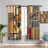 VICWOWONE Music Premium Cortinas opacas, cortinas de 160 cm de largo funky fractal geométrica forma cuadrada fondo con guitarra acústica figura arte uso diario W52 x L63 pulgadas multicolor