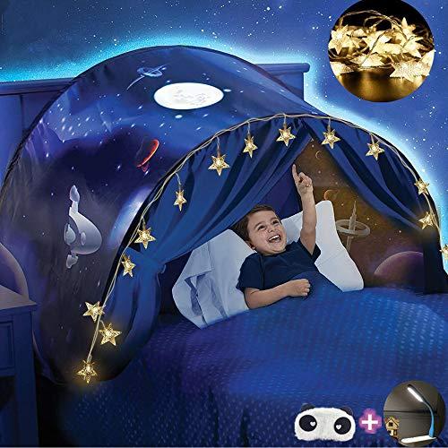 FLAYOR Dream Tents - Tente de Lit Enfants Tente de Rêve Pliable Pop Up Lit Tente Playhouse de Tente Enfant Jouer Tentes Cadeaux de Noël (Marche dans l'espace+LED Chaîne)