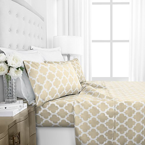 Egyptian Luxury 1800 Series Hotel Collection Quatrefoil Pattern Bed Sheet Set - Deep Pockets, Wrinkle and Fade Resistant, Hypoallergenic Printed Sheet and Pillow Case Set -Twin - Cream
