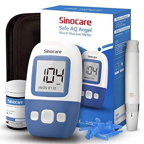 Misuratore di Glicemia, Diabete test kit glucosio nel sangue, Sinocare Safe AQ Angel Kit di monitoraggio dello zucchero con 25 strisce codefree reattive per i diabetici mg/dL (AQ Angel 25 Kit)