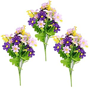 ECLENYES 3Pcs 28-Cluster Artificial Daisy Bouquet Plastic Marguerite Flower for Home Wedding Chrysanthemum Bunch Plastic Mum Flower Cluster (Purple)