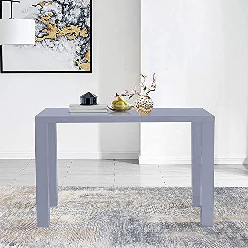 GOLDFAN Grey High Gloss Dining Table Modern Rectangle Kitchen Tables Wood Style for 4-6 People Dining Room Furniture (Table Only)