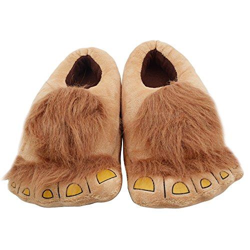 Geekbuzz Kinder-Hausschuhe mit Plüschmonster-Motiv, bequem, warm, für den Winter, Hobbit-Füße, Hausschuhe für Jungen und Mädchen, Gelb - Gelber Hobbit. - Größe: Einheitsgröße