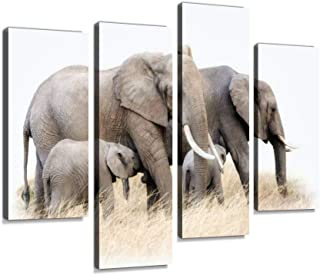 African elephant group isolated Canvas Print Artwork Wall Art Pictures Framed Digital Print Abstract Painting Room Home Of...