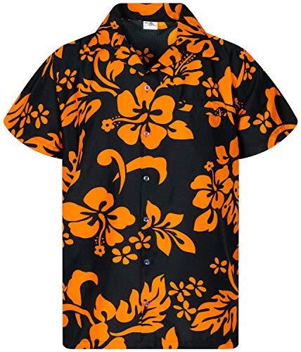 Funky Hawaiian Shirt, Shortsleeve, Hibiscus, Orange on Black, XS