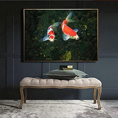 SHSYFBH Arte de Pared Brocado Rojo Carpa Natación Lienzo Pintura Póster Impresión de Gran tamaño Paisaje Arte de la Pared Imagen Decoración de la Sala de Estar 40x60cm sin Marco