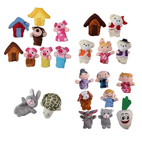 Hellery 24x Marionetas de Dedo Guardería Liebre Tortuga Felpa Bebé Niños Juguetes de Mano