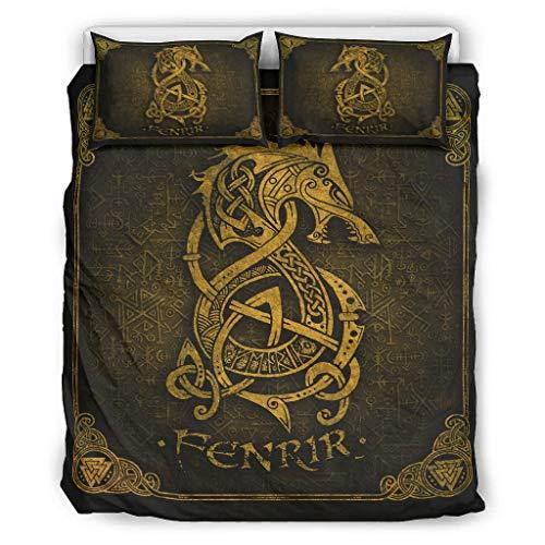 Generic Branded Tagesdecke Quilt Bettwäsche Set Viking Dragon Weiche Leichte Ganzjährige - 3-Teiliges Bettbezug-Set für Die Ganze Saison White 168x229cm