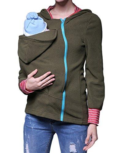 ThreeC Exclusive Real Baby Wearing Carrier Hoodie Jacket Coat Maternity Kangaroo Hoodie (Dark Green, L)
