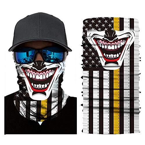 SRVOKOX Ghost Joker Sugar Skull Seamless Tube Bandana Neck Gaiter Face Mask Covering Bandanas for Men Women Summer Cooling UV Face Scarf Mask Cover Magic Headbands for Fishing Running