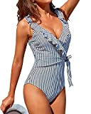 Tempt Me Women Striped Ruffle V Neck One Piece Swimsuits Tie...
