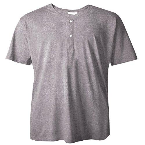 Redfield T-Shirt grau Melange mit Knopfleiste Serafino Übergröße, XL Größe:6XL