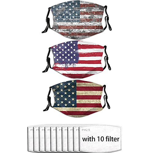 Tuyimm Patriotic American Flag Face Mask(3pcs) Anti Dust Washable Reusable Soft Mouth Breathable Adjustable Earloop Mask for Men and Women