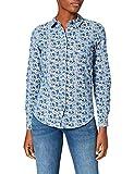 Springfield Camisa Chambray Flores, Azul Medio, 40 para Mujer