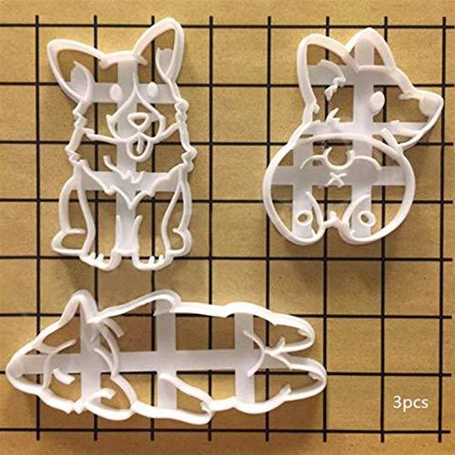 Küchenutensilien Edelstahlgriff Hitzebeständigkeit 3Pcs / set Plätzchen-Form-3 Typ Netter Corgi Hund geformt Cookie Cutters Mold Küchen Bakeware DIY Werkzeug Kuchen, der Werkzeuge Plätzchen Küchenuten