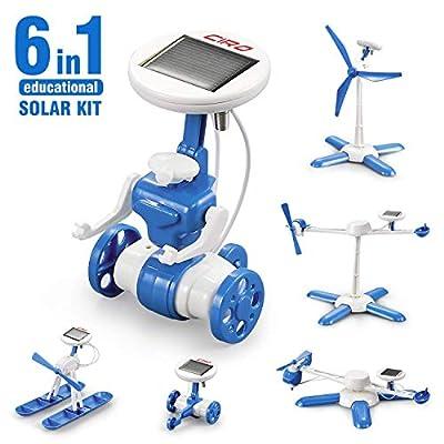 Auney Solar Robot Creation Kit, 6-in-1 Solar Robot Kit for Kids Solar Kit DIY Solar Power, STEM Toys Educational Gift for Kids and Teens, Boys and Girls