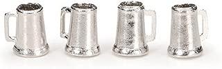 Darice 4 Piece, Timeless Miniature Pewter Beer Mugs