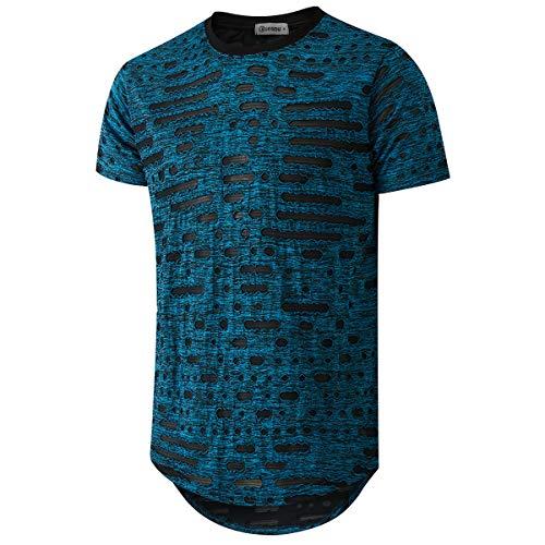 KLIEGOU Mens Hipster Hip Hop Ripped Round Hemline Hole T Shirt (05-3)(Blue 1 S)