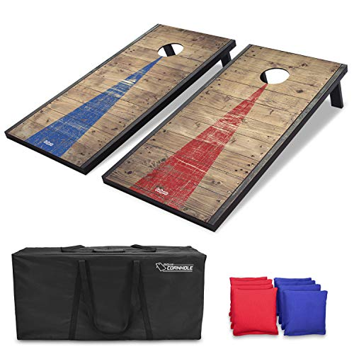 Best cornhole boards - GoSports 4'x2' Classic Cornhole Set with Rustic Wood Finish | Includes 8 Bags, Carry Case and Rules, Red/Blue, Red;Blue
