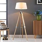 Lampenwelt Dreibein Stehlampe 'Katie' (Skandinavisch) in Weiß aus Textil u.a. für Schlafzimmer (1 flammig, E27, A++) - Holz Stehleuchte, Floor Lamp, Standleuchte, Wohnzimmerlampe, Tripod