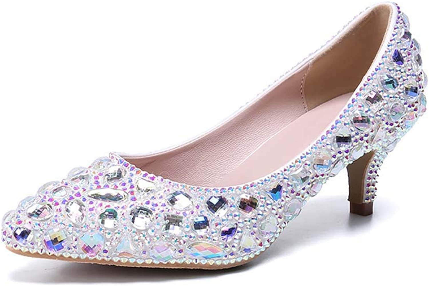 Women's Sequined Rhinestone Pointed Toe Kitten Heel Latin Ballroom Dance shoes Comfortable Wedding Sandals shoes