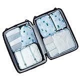 Aiwer Conjunto de 6 Cubos de Embalaje, organizadores de Embalaje de Equipaje de Viaje con Bolsa de lavandería Ropa Interior Acabado Bolsa de Almacenamiento,11
