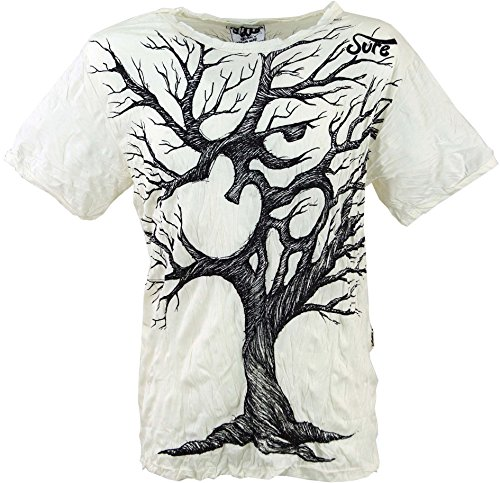 GURU SHOP Sure T-Shirt OM Tree, Herren, Weiß, Baumwolle, Size:L, Bedrucktes Shirt Alternative Bekleidung
