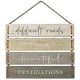 Barnyard Designs Panneau décoratif en bois à suspendre avec citation « Difficult Roads Often Lead to Beautiful Destinations » 43,2 x 35,6 cm