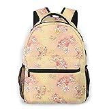 BOFJHASIFHAOAS Laptop Schoolbag Casual Lightweight Travel Sports Backpack Unisex(Orange Creme Blossom)