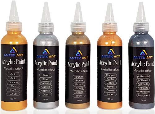 Vernici Acriliche ANTEK ART Set di 5 Colori ad Effetto Metallico in Bottiglie da 150ml Alto Contenuto di Pigmenti Colorati Alta Copertura Rapida Essiccazione
