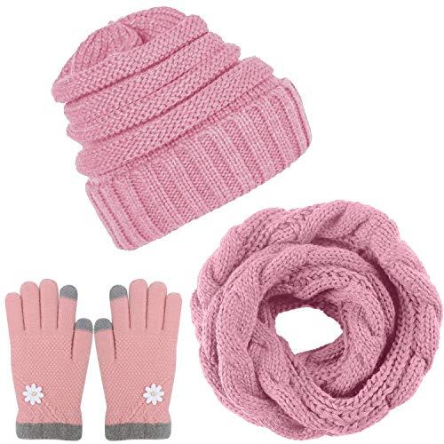 Aneco Winter Warm Strick Schal Beanie Mütze und Handschuhe Set Herren Damen Soft Stretch Mütze Schal und Fäustling Set Einheitsgröße rose