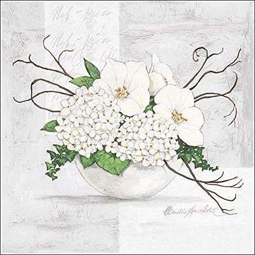 Rahmen-Kunst Keilrahmen-Bild - Claudia Ancilotti: Green Blossom Leinwandbild Stillleben modern floral Blumen Weiss (80x80)