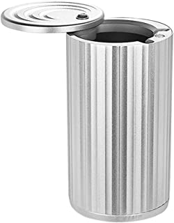 Car Ashtray with Rotating Lid,Aluminum Alloy Ashtray for Car,Fit Most Auto Car Cup Holder,Easy Open and Clean-Silver