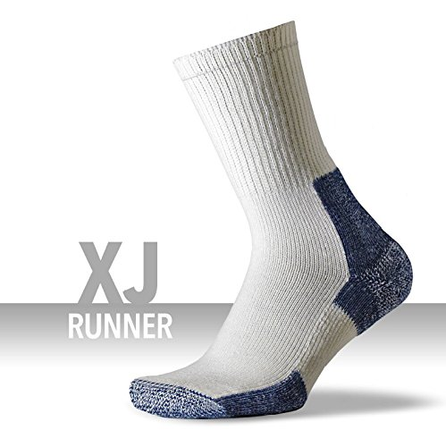 Thorlos XJ Max Cushion Running Crew Socks, White/Navy, Large