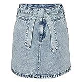 Vero Moda VMKATIE HR Short Bow Skirt Falda, Mezclilla De Color Azul Claro, M para Mujer