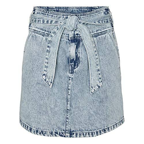 Vero Moda VMKATIE HR Short Bow Skirt Gonna, Mix Blu Chiaro, X-Small Donna