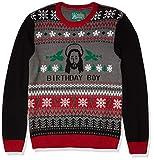 Ugly Christmas Sweater Company Men's Assorted Jesus Crew Neck Xmas Sweaters, Grey Heather Birthday Boy, Large