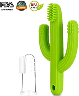 Mr Van Baby Teether Toy Toothbrush - Infant Training Toothbrush for Teething - 100% Food Grade Silicone/BPA-Free - Green Cactus